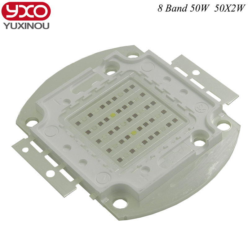 New 8 band 50w 100w 50*2w grow light led chip ,full spectrum led Red Blue UV IR White for indoor Plant Seeding Growing Flower new 8 band 50w 100w 50 2w grow light led chip full spectrum led red blue uv ir white for indoor plant seeding growing flower