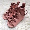 Menina Rosa bebê sapatos de Couro genuíno