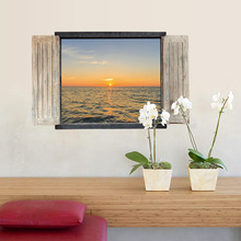 3D landscape fake window wall stickers marine bedroom living room entrance decoration home sticker photo for home decor