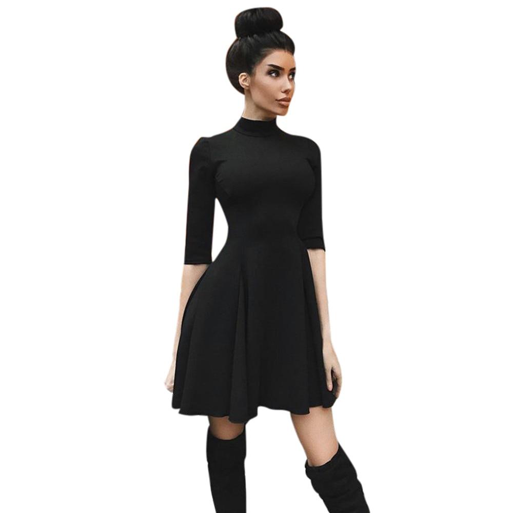 2019 Womens Holiday O Collar  Party Ladies Casual Dress Half Sleeve Dress Long Maxi Dresses Slim Dresses winter clothing 30#