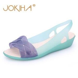 Image 1 - 2019 Rainbow Jelly Shoes Women Wedges Sandalias Woman Sandals Summer Candy Color Peep Toe Bohemia Beach Sweet Slipper Shoes Girl