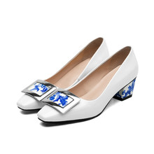 women's med heel comfort pumps design square toe fashion heeled shoes for women high quality patent leather ladies heels size 9