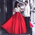 Opulento Larga Roja Del Satén Mujeres Faldas Chic Invisible Cremallera Alta Cintura Piso-Longitud Maxi Faldas Faldas del Partido 2016 Por Encargo