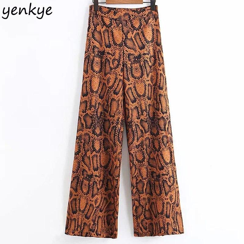 European Style Women Fashion Snake Print Pants Female High Waist Casual Loose Wide Leg Pants pantalon femme   XLWM1540