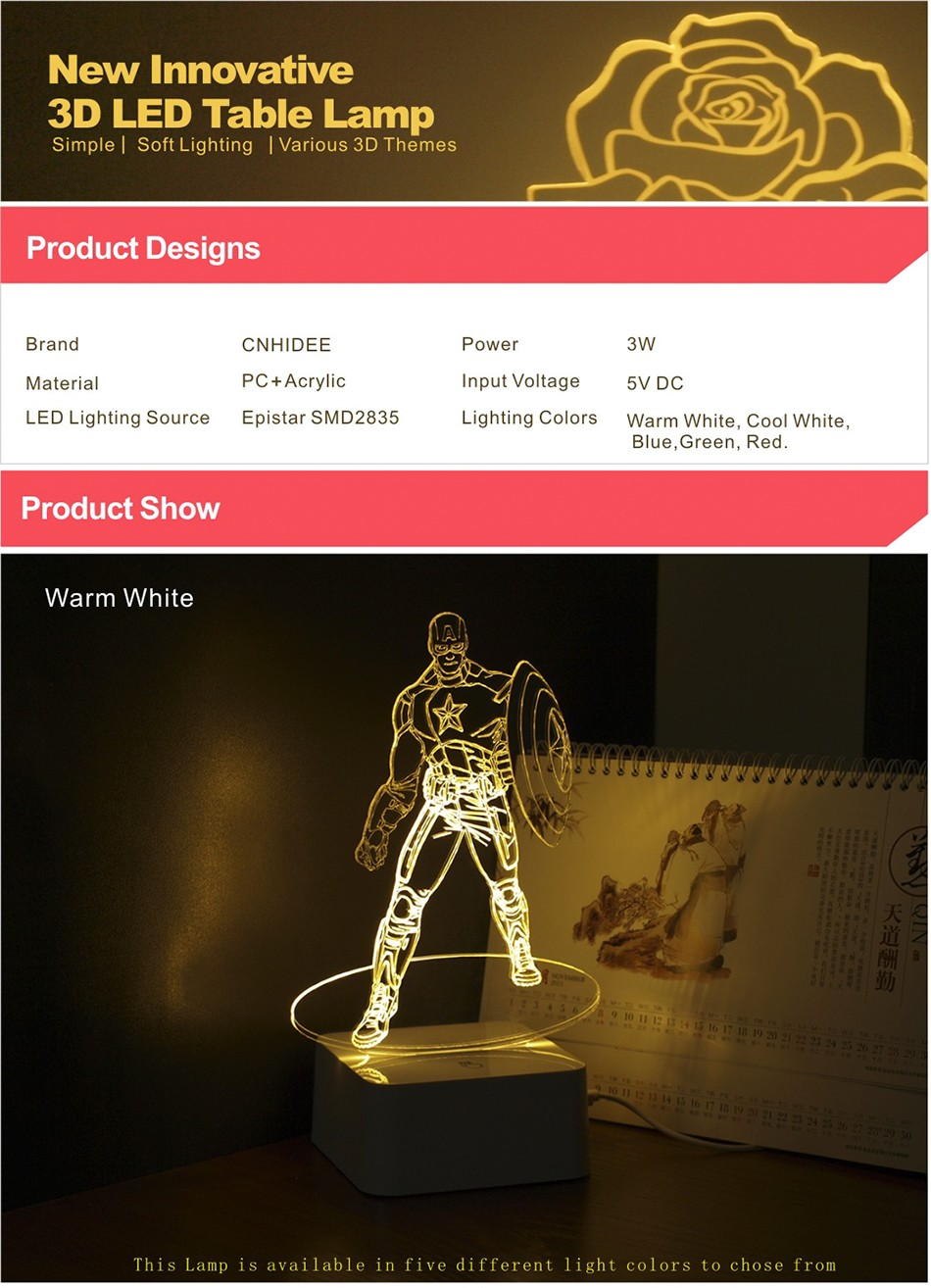 Novelty for American Captain 3D Iluminacion Led Dimmable Touch Table Lamp Desk Nightlights (1)