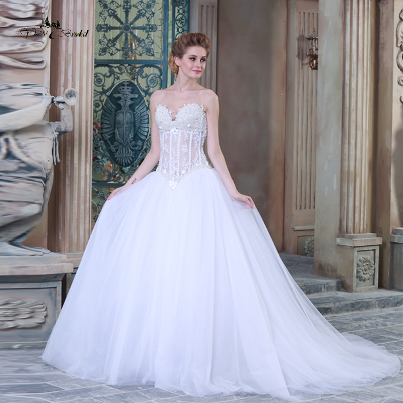 Pictures Of Gowns For Wedding: HSW9 Pearls Ball Gown Wedding Dresses 2015 Pictures Of