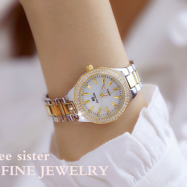 2019 Luxury Brand lady Crystal Watch Women Dress Watch Fashion Rose Gold Quartz Watches Female Stainless Steel Wristwatches 2018 1