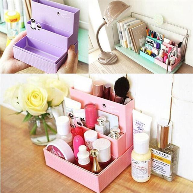 Random Color DIY Paper Board Makeup Cosmetic Storage Box Container Desk Decor Stationery Case Organizer Top