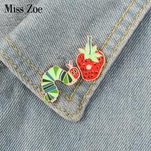 Strawberry Caterpillar enamel pin Cartoon Plant Animal badge brooch Lapel pin Denim Jeans shirt bag Funny Cute Jewelry Gift