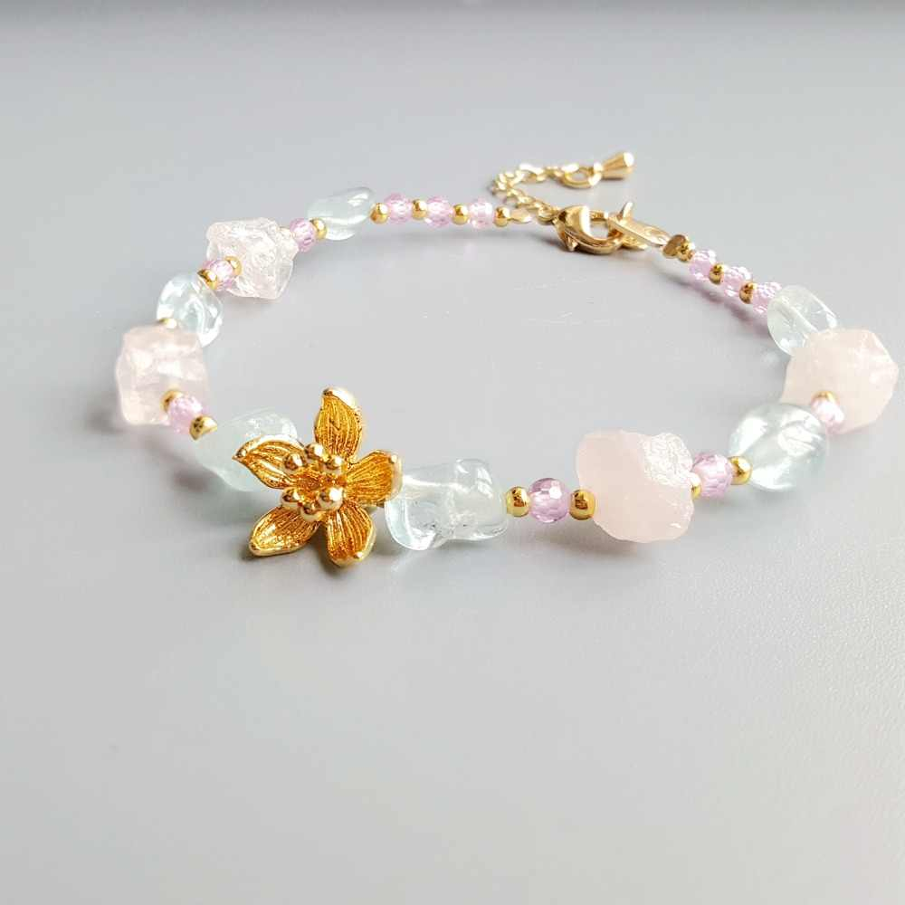 Lii Ji Real Aquamarine Rose Quartz Pink Zircon Natural Stone Bracelet Flower Charm Delicate Jewelry For Child or Women
