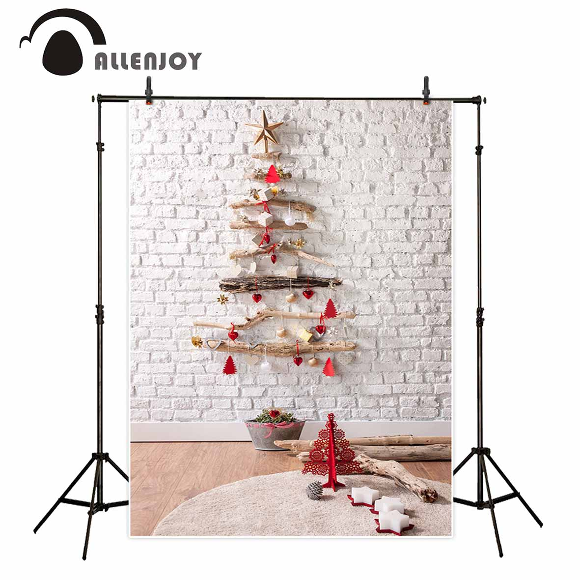 Allenjoy Christmas photography background white brick wall indoor children backdrop newborn photocall photobooth