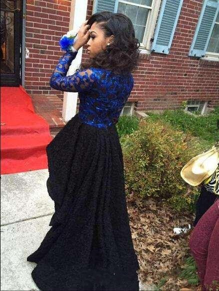 African Royal Blue And Black High Low Prom Dresses For Black Girls