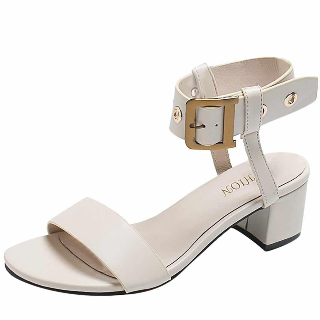 2019 Buckle High Heel Ladies Sandals Summer women's Shoes Open Toe Thick High Heels Party Sandals Large Size Thick With Sandals