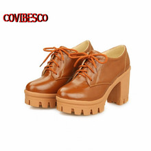 2016 Spring Autumn High Platform Fashion Boots Ladies Short Martin Boots Motorcycle Boots Women's Outdoor Shoes Big Size 34-43