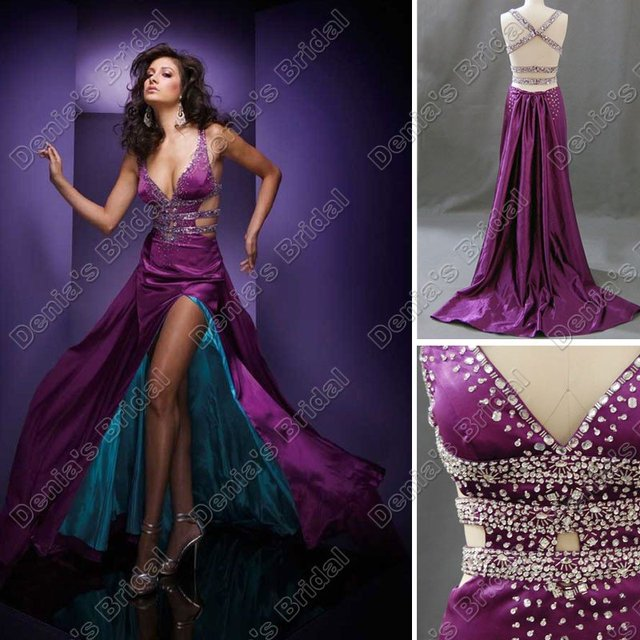 eea8c4c5fe0 Free Shipping A Line Beaded V Neck Side Slit Purple Turquoise Floor Length  Prom Couture Gown Homecoming Evening Dress (PD005)