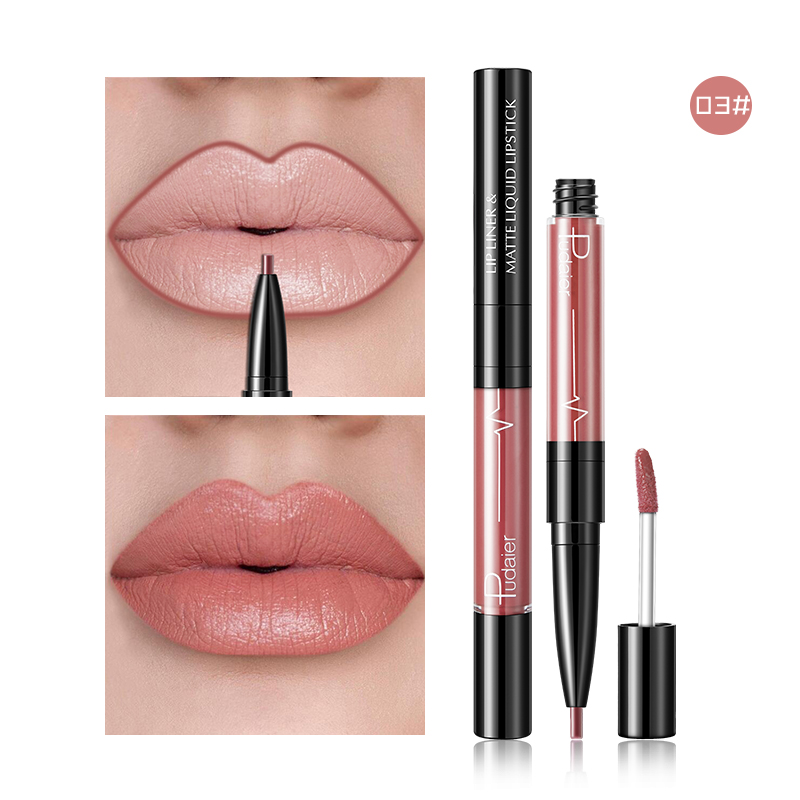 2 In1 Matte Lip Gloss Lip Liner Maquiagem Profissional Completa Agate Red Lip Tint Plumper Tattoo Makeup Liquid Lipstick 3