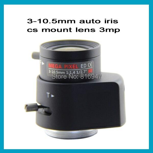 1/2.7 3 mega pixel 3-10.5mm F1.4 Auto Iris cctv lens, cs mount varifocal lens manual focus / zoom