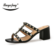 BaoYaFang New Thick heel shoes 8cm fashion Rivet woman Summer sandals White/Black high women