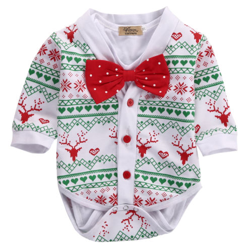 Helen115 Christmas baby girl clothes baby boy clothes Bodysuit+Snowflake Sweater Outfit Set 0-18M