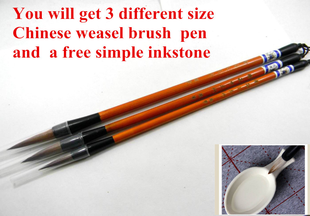 3Pcs Different Size Small Middle Big Weasel Hair Japanese Calligraphy Writing Brush Pen