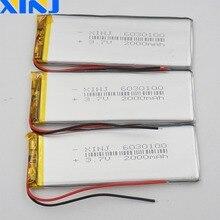 Xinj 3 pces 3.7 v 2000 mah bateria de polímero de lítio lipo célula 6030100 para pda mid music player registro caneta alto falante bluetooth tablet pc