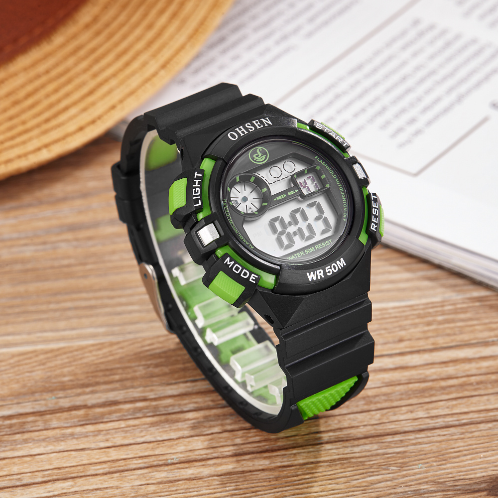 NEW OHSEN Digital Kids Rubber Band Alarm Sport Wristwatches 50m Dive Green Children Relogio LED Water Resistant Boys Watch Gifts