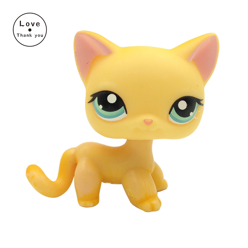 pet shop toys standing Short Hair cat #339 Yellow kitten blue eyes rare animal kitty pet shop toys dachshund 932 bronw sausage dog star pink eyes