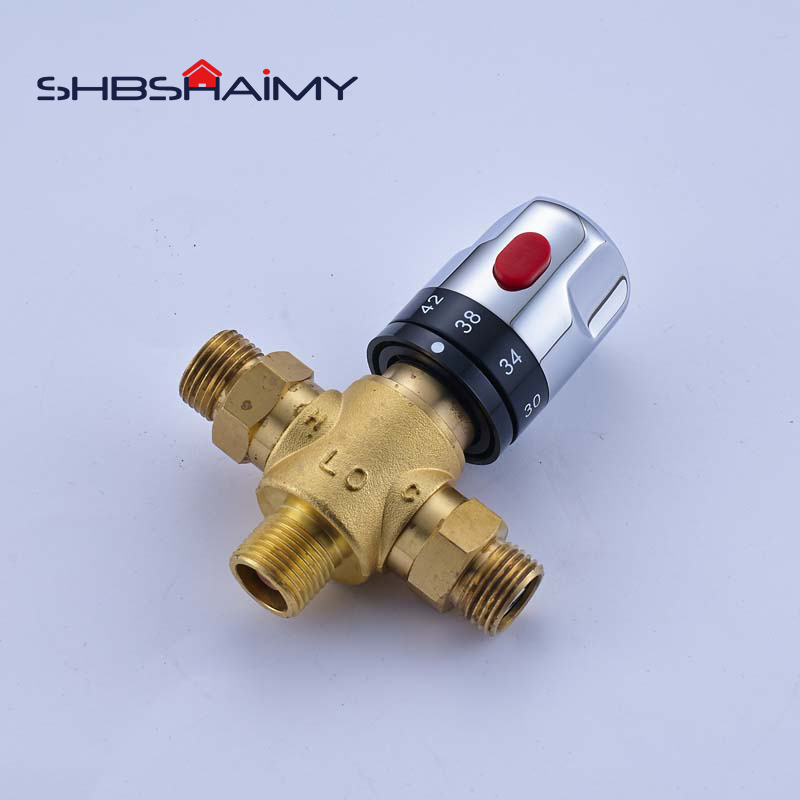 Thermostatic Mixing Valve Water Mixer Brass Faucet: Brass Thermostatic Mixing Valve Constant Water Temperature