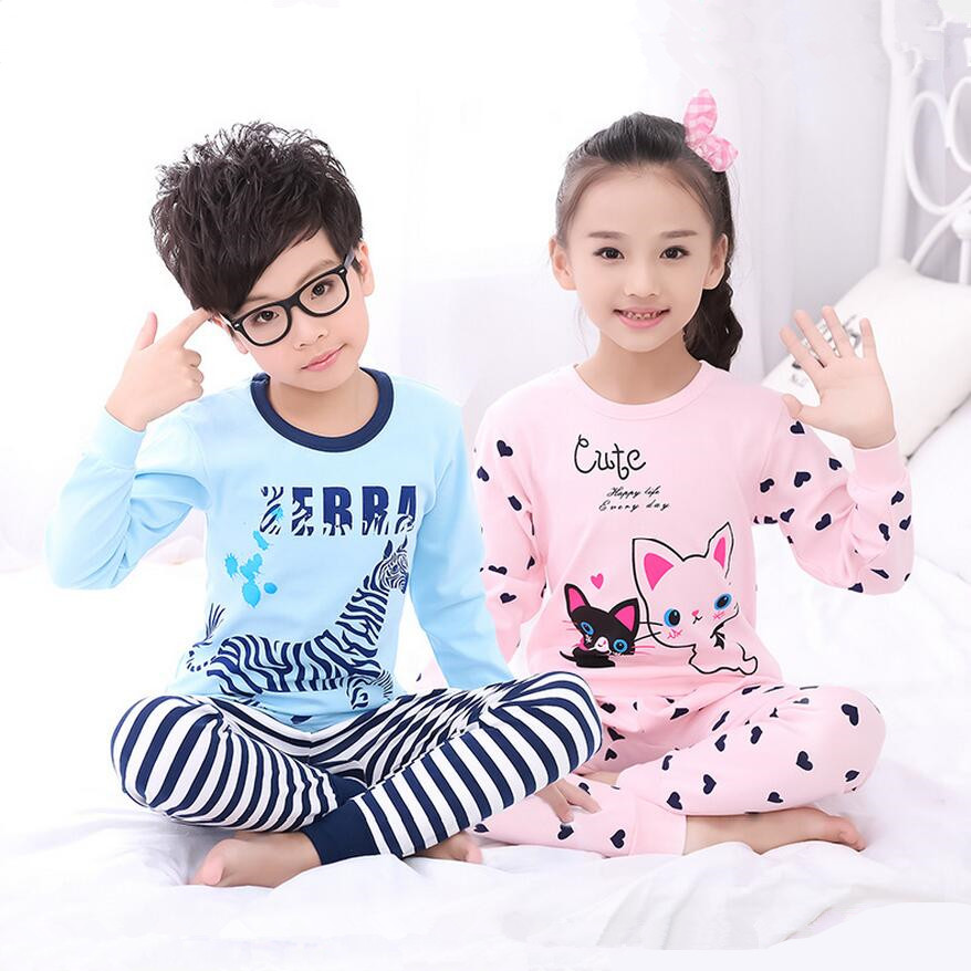 86069c2bde Winter long sleeve cotton knit fabric children girls pyjamas kids thermal  underwear pink sleep top shirt children clothing set-in Pajama Sets from  Mother ...