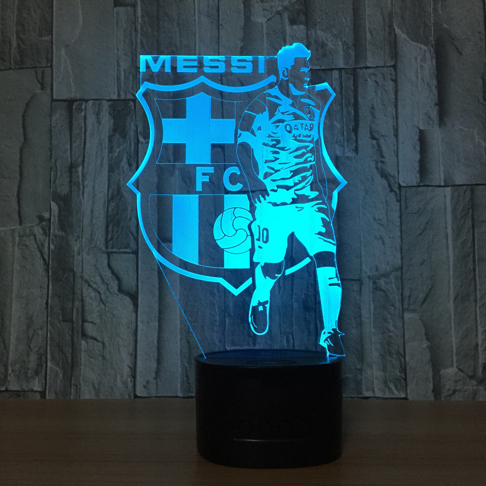 MESSI 3D Night Light Football Club 3D Illusion Table Lamp Color Changing Luminaria Touch ...