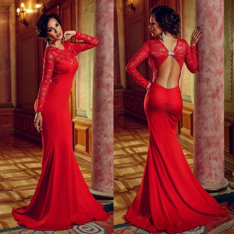 2016 Sexy Red Lace Prom Dresses Long Sleeves Chiffon Evening Party ...