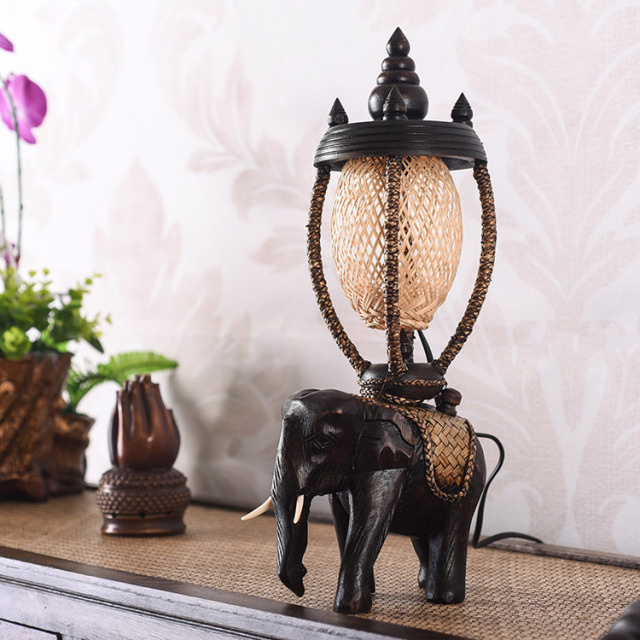 Exceptional Southeast Asia Solid Wood Elephant Table Lamp Thai Country Creative  Personality Retro Warm Bedroom BedsideTable Lamps