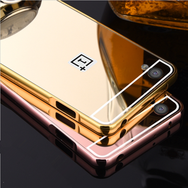Oneplus X  Case On For oneplus X  Cover One Plus X  Aluminum Metal Frame  Plastic Mirror Back Cover Luxury Hard Case 5.0 Inch