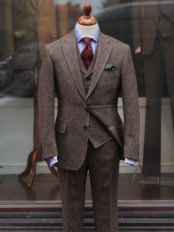 Medium Grey Suit Brown Shoes