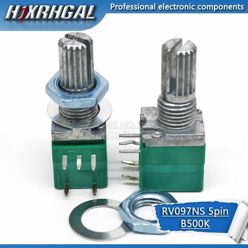 2pcs RV097NS 5K 10K 20K 50K 100K 500K With A Switch Audio 5pin Shaft 15mm  Amplifier Sealing Potentiometer Hjxrhgal