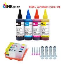 INKARENA 655XL совместимый для hp 655 перезаправляемый Картридж для струйного принтера ink advantage 4625 4615 3525 5525 + 4 бутылки чернила для принтера