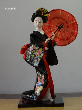Japanese Geisha Dolls Wearing Silk Kimonos