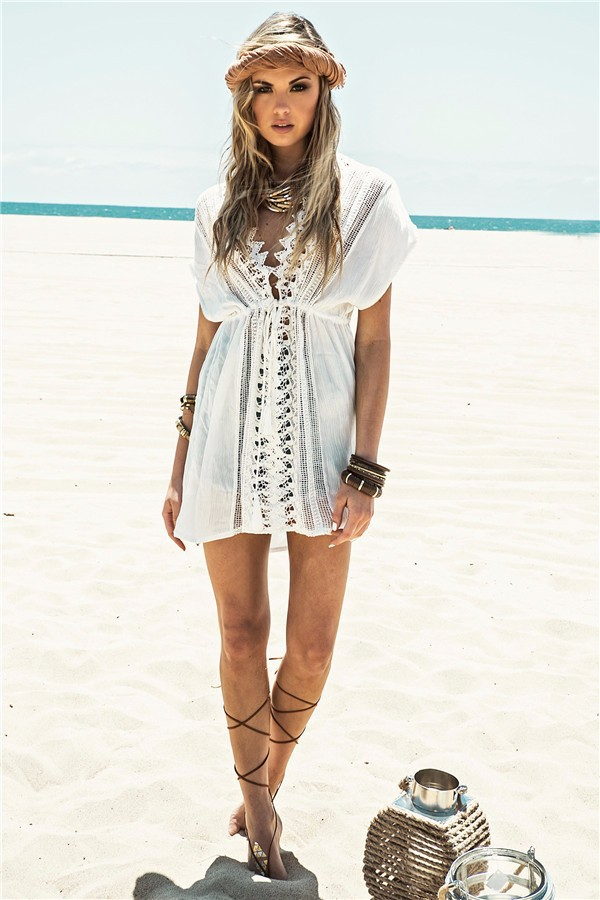 714fb54205 White Short Sleeve V Neck Cotton Beach Caftans, Lace Crochet Tunic Beach  Cover Ups, Sexy Kaftan Bikini Swimsuit Cover Up Dress on Aliexpress.com |  Alibaba ...