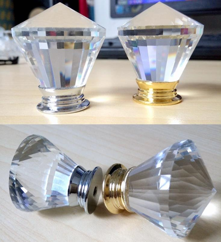 wholesale 30mm Crystal glass Drawer Cabinet Door Handle Furniture Knobs Hardware Cupboard Antique Brass Shell Pull