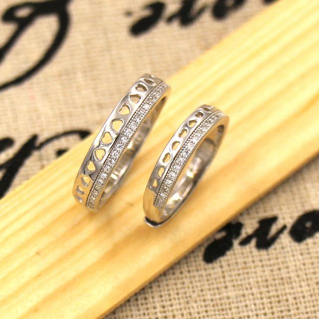 Clássico do Amante Promessa Engagement Presente Anel Oco para fora Da Bobina de Coração 925 Prata Banhado A Ouro Branco Anel de Pedra Zircão Bijoux