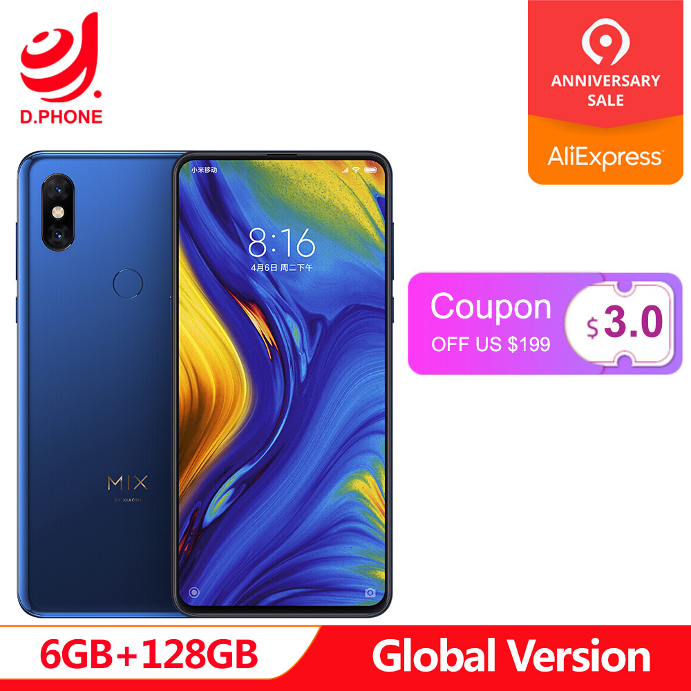 In Stock Global Version Xiaomi Mi MIX 3 Snapdragon 845 6GB 128GB 6.39 AMOLED Screen Dual Front Camera Wireless Charging Phone