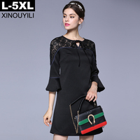 Black Large Size Fashion A Line Dress 2017 Autumn Hollow Out Lace Collar Flare Sleeve Elegant