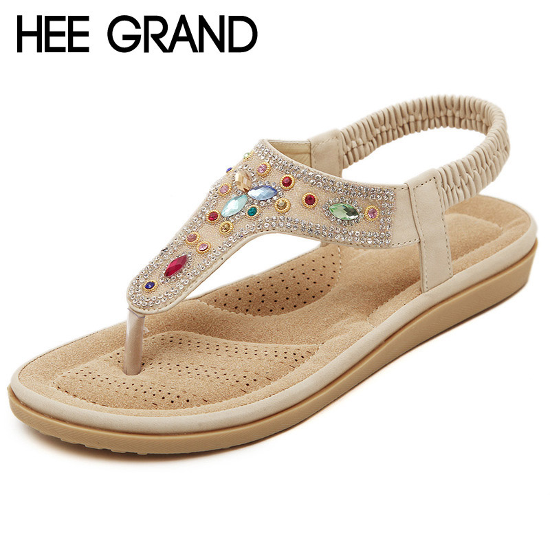 HEE GRAND Crystal Flip Flops Summer Gladiator Sandals Platform Shoes Woman Rhinestone Flats Soft Creepers Size 35-40 XWZ2289 gladiator sandals 2017 summer style comfort flats casual creepers platform pu shoes woman casual beach black sandals plus us 8