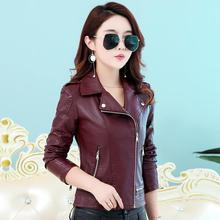 OEAID Fashion large size 3XL motorcycle leather jacket women leather coat 2017 new short slim turn-down collar jackets female