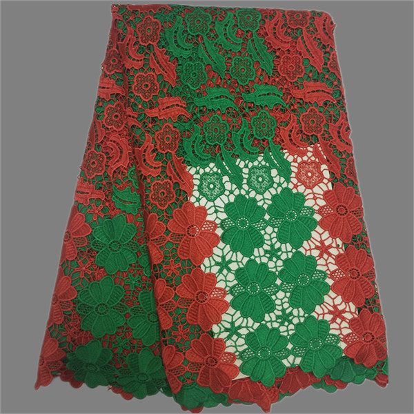 Popular African guipure lace textile with niec embroidery African cord mesh material for ...