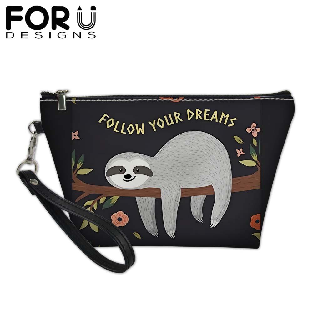 Cartoon Sloth Print Small MakeUp Bag For Women Girl Folivora Beauty Cosmetics Bag Pouchs Female Beautician Travel Toiletry