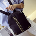 Free Shipping New 2017 Fashion Simple PU Black White with Rivets Mini Student Backpack Cheap Backpacks BB065