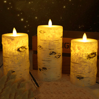 Luz conduzida das velas da coluna do efeito da casca de bétula  vela conduzida da cera da parafina da bateria para a decoração da iluminação do natal.  luz da noite da sala de casa