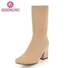 fc0daec6 JOJONUNU mujer tacones botas media pantorrilla Invierno Caliente calcetín  elástico cuadrados Toe zapatos de tejer mujer bota cor.