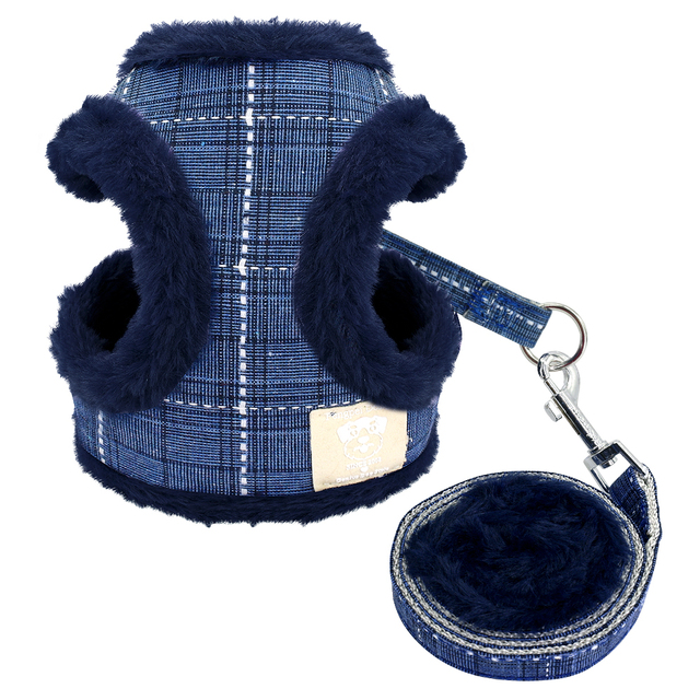 Soft Puppy Dog Cat Harness Leash Set Warm Padded Plaid Pet Harnesses Vest Christmas For Small Medium Dogs Chihuahua Yorkie S M L 1